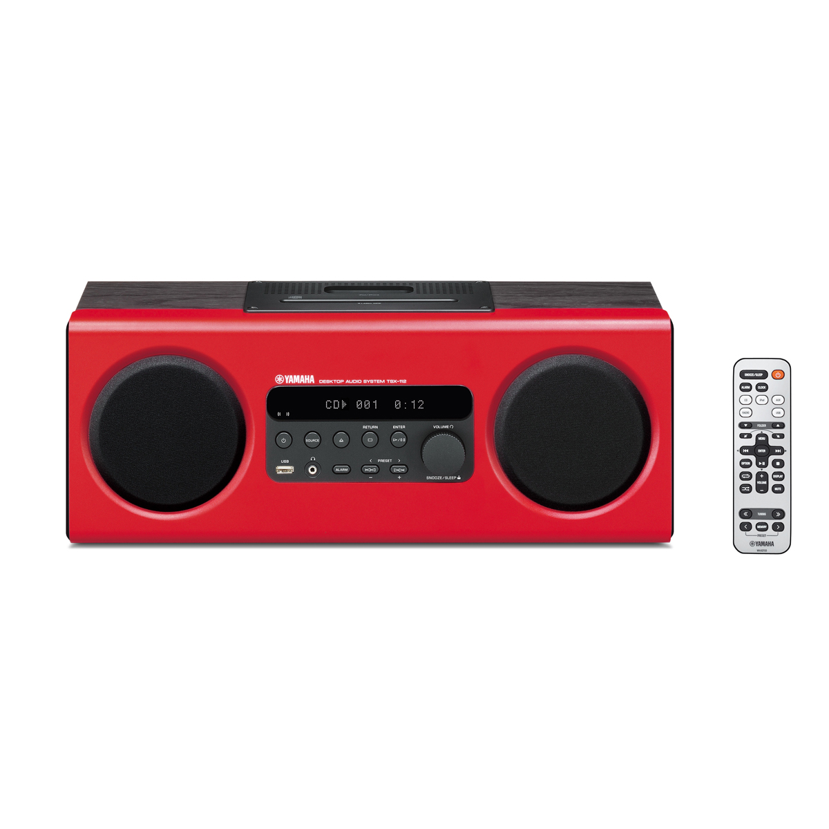 mini hifi radios yamaha tsx 112 red desktop hifi usb radio alarm clock cd line in iphone. Black Bedroom Furniture Sets. Home Design Ideas