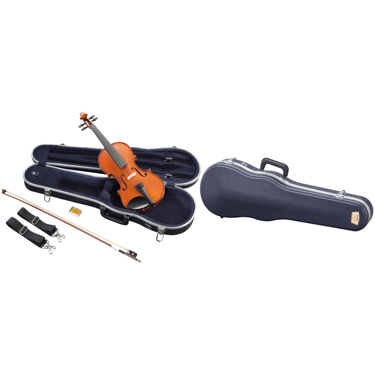 Sets include lightweight case, bow and rosin