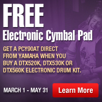 Free Electronic Cymbal Pad Get A PCY90AT direct from yamaha when you buy A DTX520K, DTX530K or DTX560K electronic drum kit