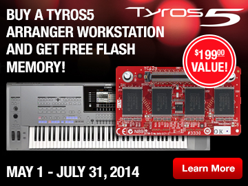 Buy a Tyros5 Arranger Workstation and get free Flash Memory.