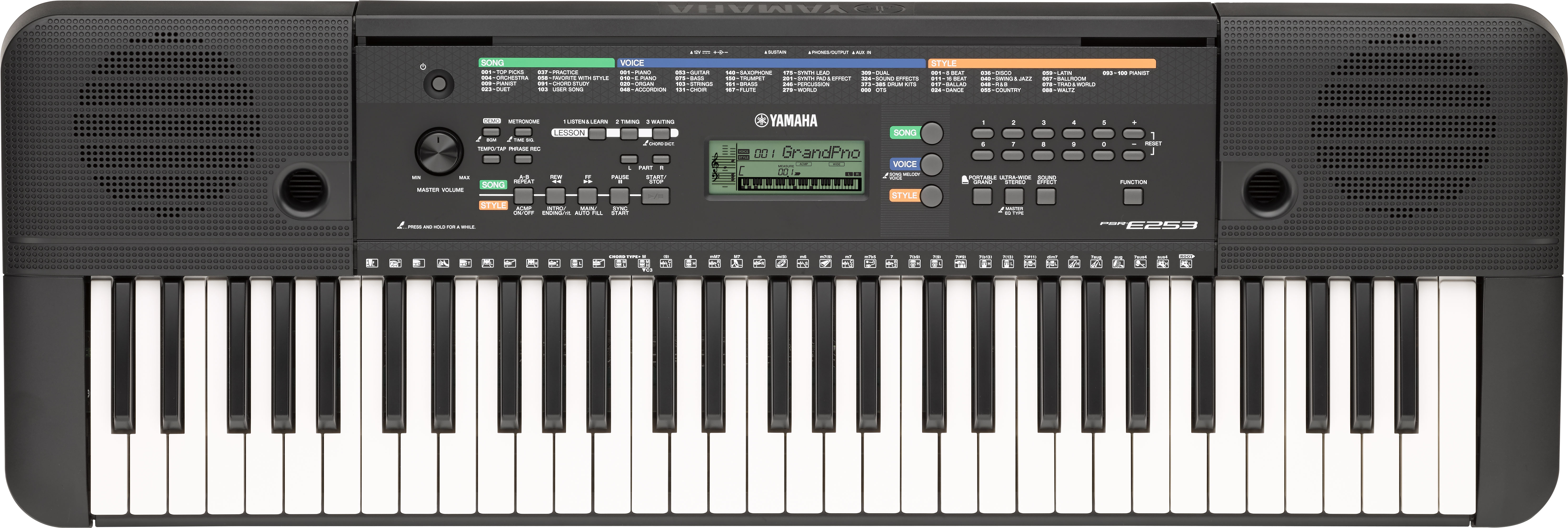 The psr e253 is an ideal first keyboard for aspiring musicians who are