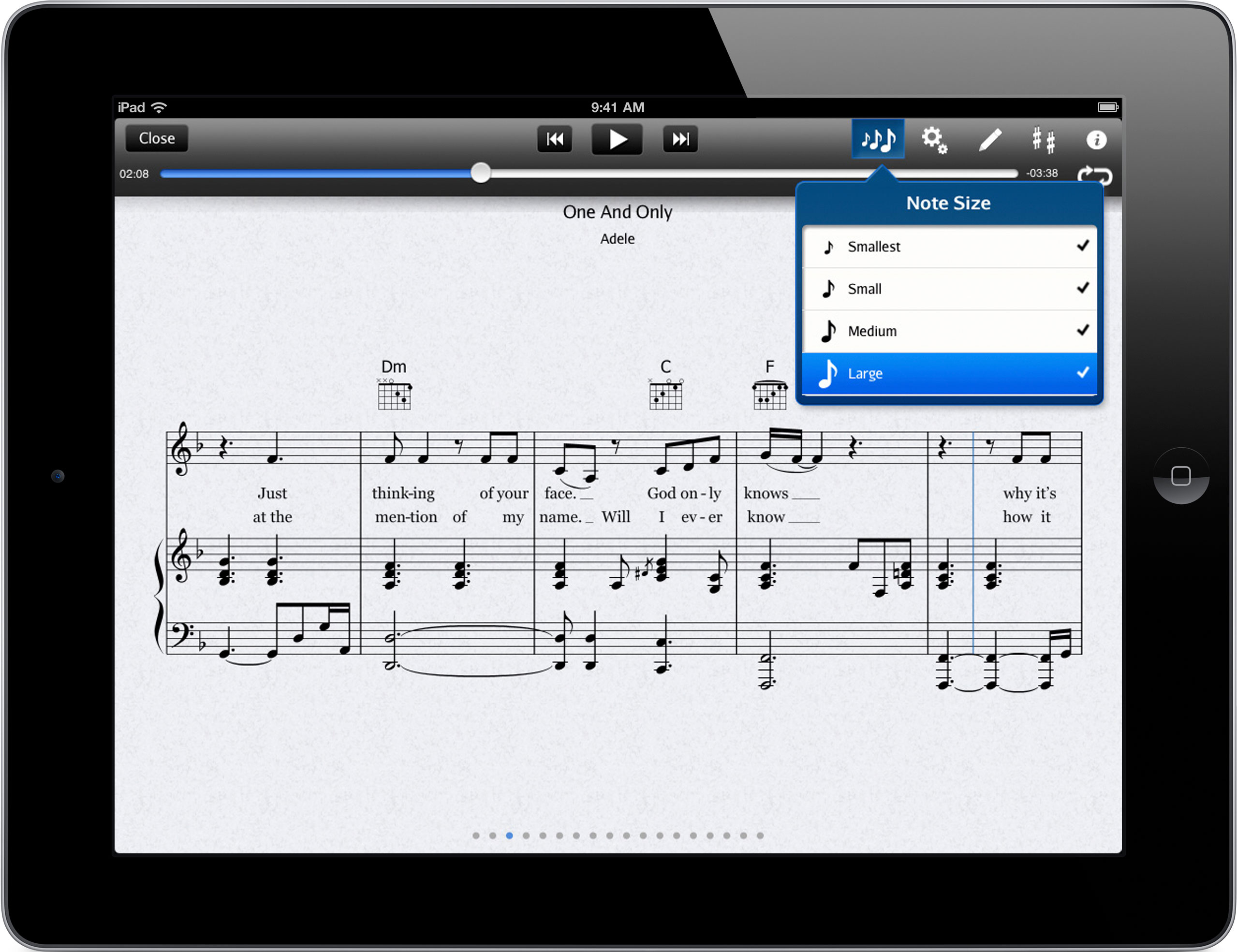Several note size options with automatic sheet music resizing