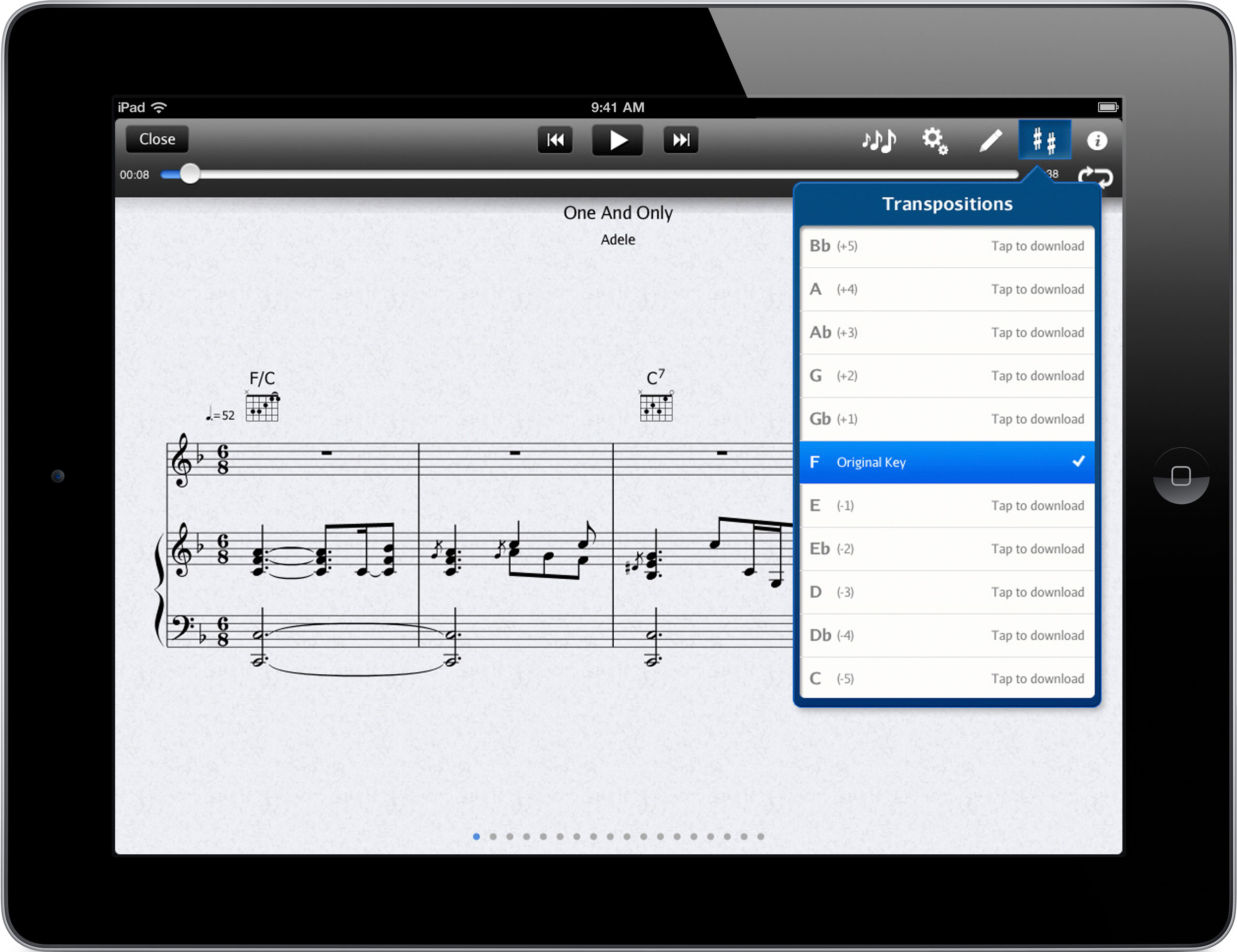 Transpose any song with the touch of a button