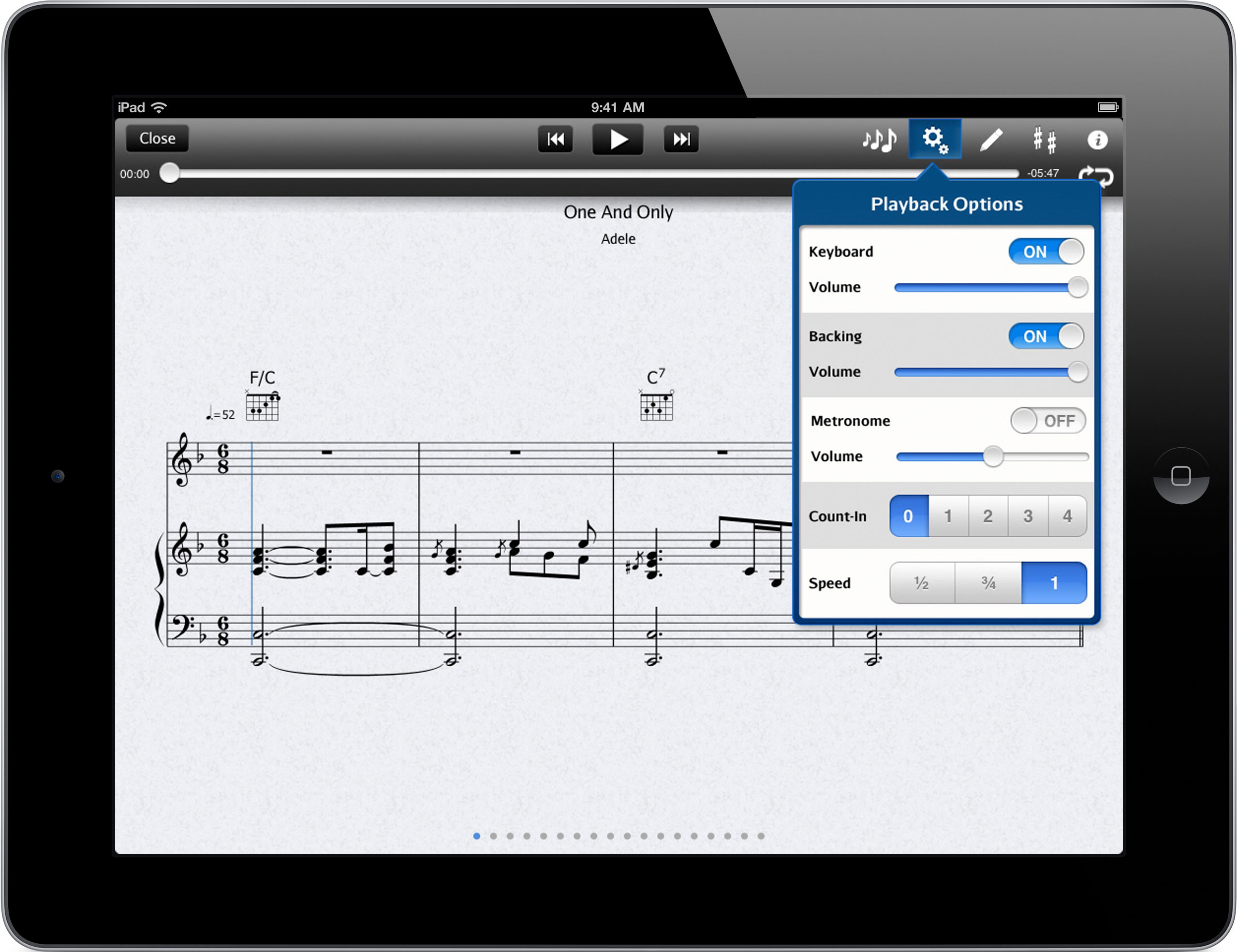 Playback control including keyboard/backing part / metronome on/off, and tempo control