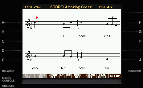 Score, Lyrics and Text display